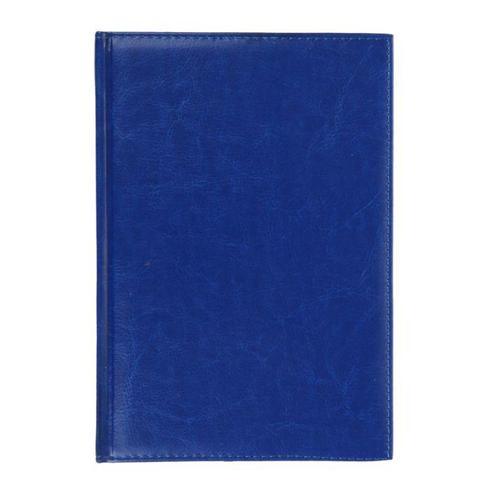 Ежедневник полудатированный, А5, 192 листа, линейка, золотой срез, карты, ляссе, обложка пвх, синий