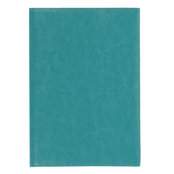 Ежедневник полудатированный, А5, 192 листа, линейка, золотой срез, перфорированный угол, карты, ляссе, обложка пвх, бирюзовый