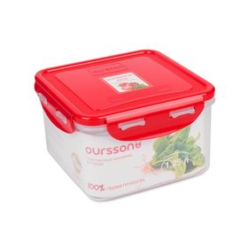 Пластиковый контейнер Oursson, красная крышка, 1,25 л, квадратный