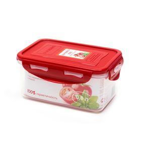 Пластиковый контейнер Oursson, красная крышка, 800 мл, прямоугольный