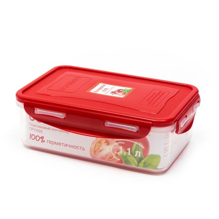 Пластиковый контейнер Oursson, CP1103S/RD, красная крышка, 1,1 л, прямоугольный