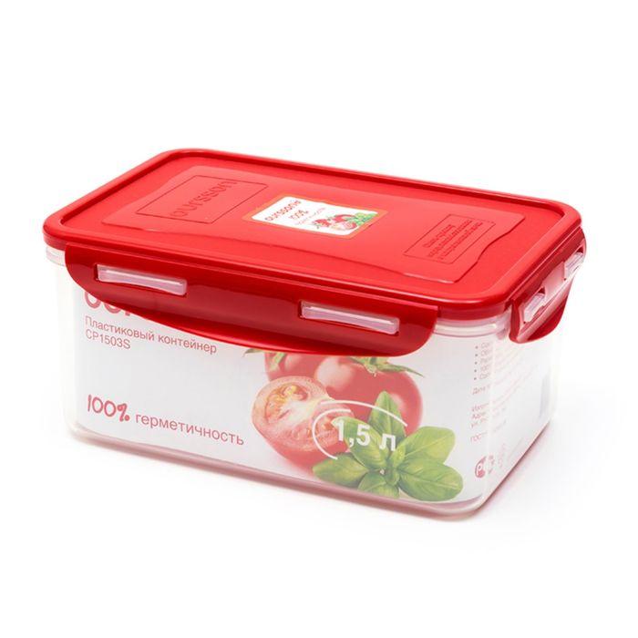 Пластиковый контейнер Oursson, CP1503S/RD, красная крышка, 1,5 л, прямоугольный