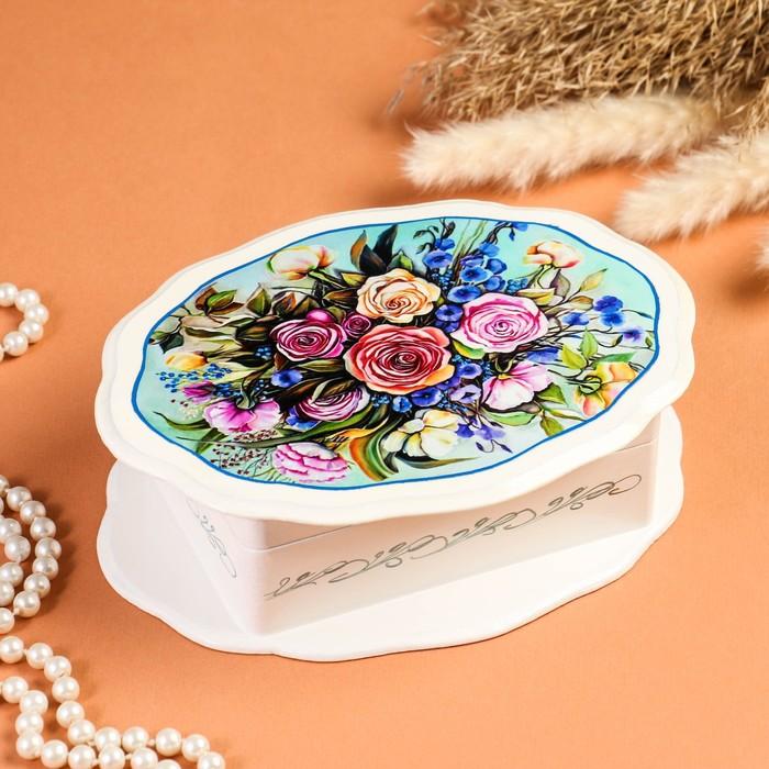 Шкатулка «Букет роз», белая, 20×15 см, лаковая миниатюра