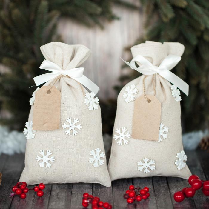 Мешки для подарков «Морозный вечер», набор для шитья, 16,3 × 10,7 × 2,5 см - фото 692030