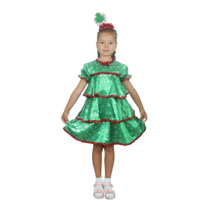 """Карнавальный костюм """"Ёлочка со снежинками"""", атлас, платье ярусами, ободок, р-р 30, рост 110-116 см - фото 1745170"""