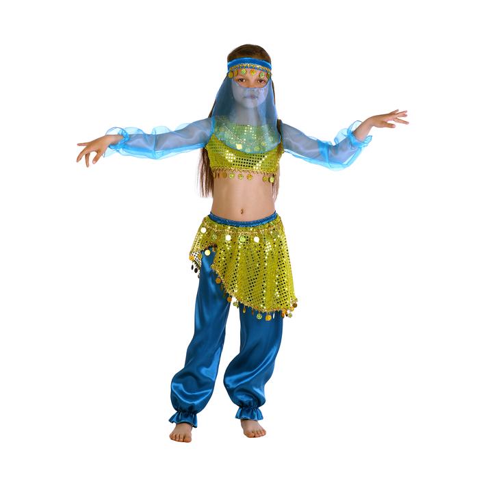 """Карнавальный костюм """"Алсу. Морская волна"""", повязка, топ с рукавами, штаны, р-р 34, рост 134 см - фото 105521580"""