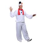 """Карнавальный костюм """"Снеговик взрослый"""", шапка, шарф, куртка, штаны, р-р 52-54, рост 182 см"""