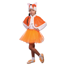 Карнавальный костюм «Лисичка», шапка, пелерина, р. 32, рост 122-128 см