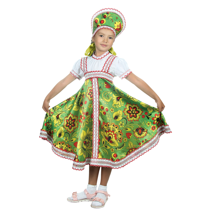 """Русский народный костюм """"Хохлома"""", платье, кокошник, цвет зелёный, р-р 32, рост 122-128 см - фото 105521666"""