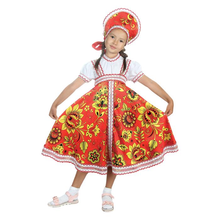 """Русский народный костюм """"Хохлома"""", платье, кокошник, цвет красный, р-р 32, рост 122-128 см - фото 105521560"""