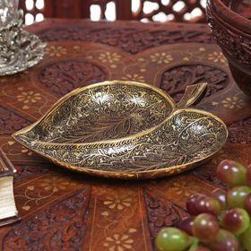 Икорница латунь 'Листок' 2,5х13х17 см Ош