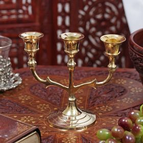 """Brass candle holder for 3 candles """"Trident"""" 13,. 5x15. 2x7 cm"""