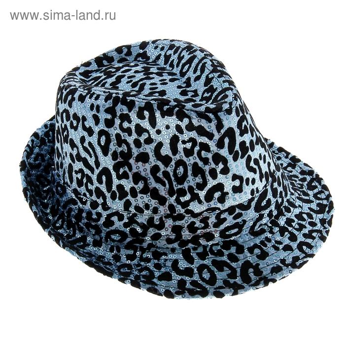 Карнавал шляпа Клубная с паетками леопард-голубая