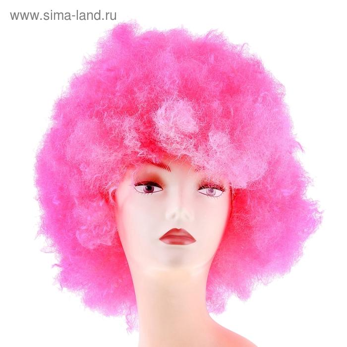 Карнавальный парик световой, мелкие кудри, розовый