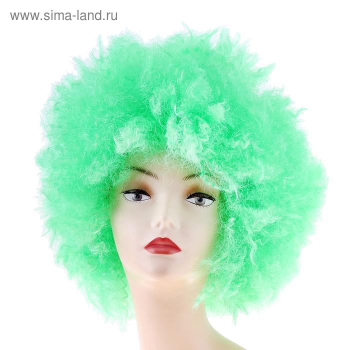 Карнавальный парик световой, мелкие кудри, зеленый