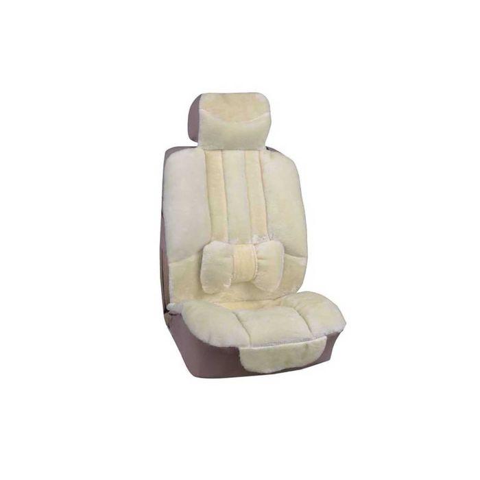 Чехлы сиденья меховые искусственные 5 предм. SKYWAY Arctic бежевый с подушечкой для поддержки спины