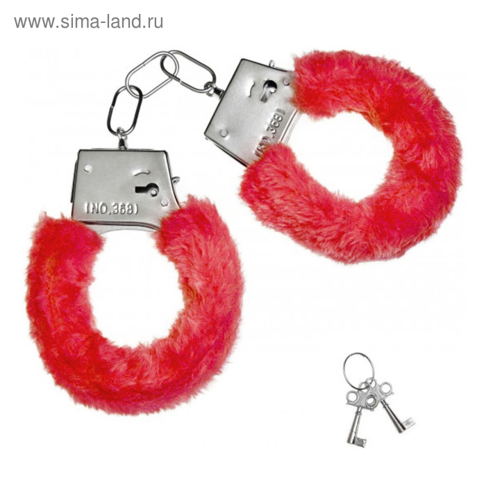 Fur handcuffs red
