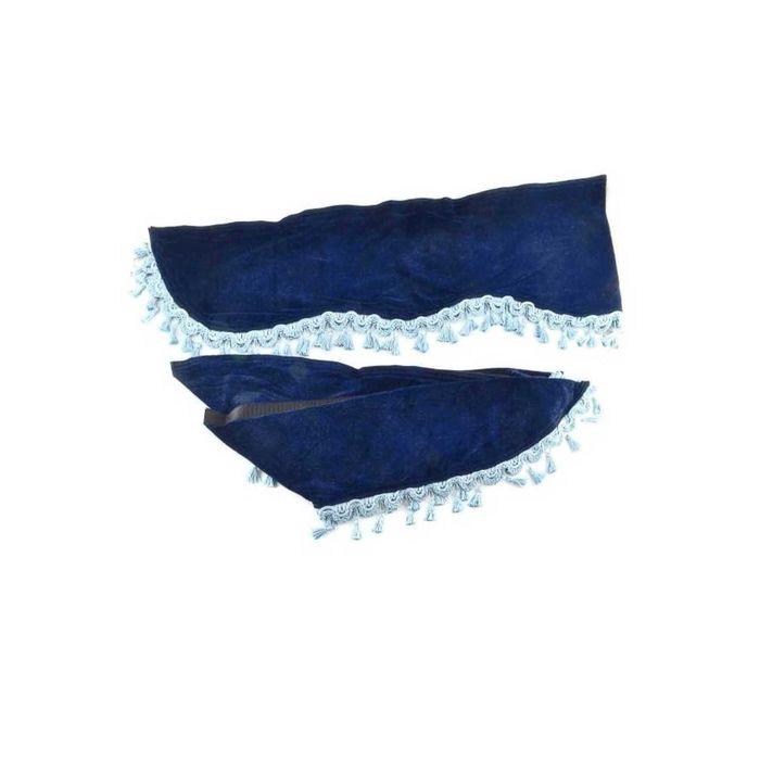 Ламбрекен лобового стекла со шторками SKYWAY, 140см/46x60см, темный-синий