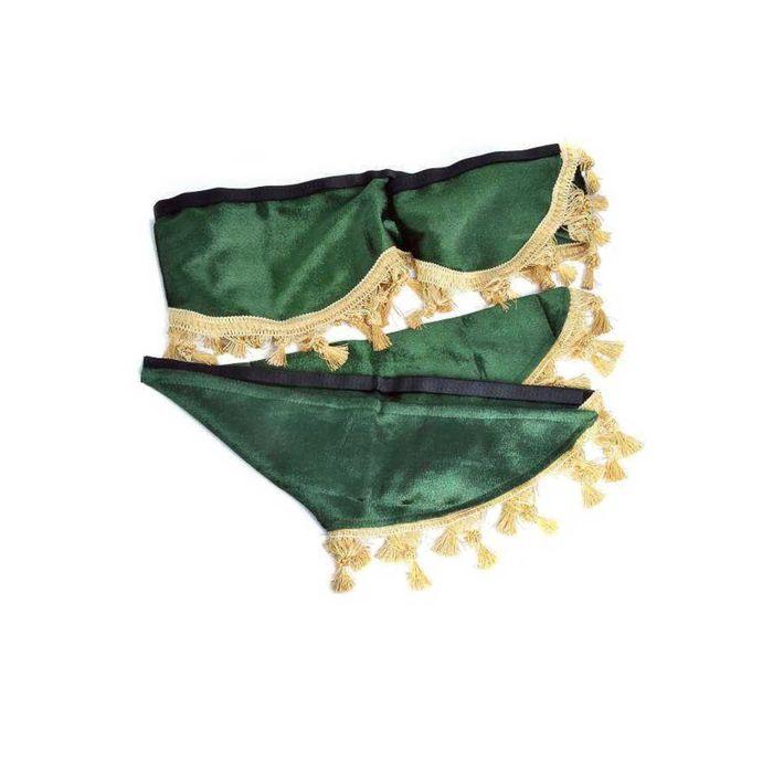Ламбрекен лобового стекла со шторками SKYWAY, 210см/60x60см, Зеленый