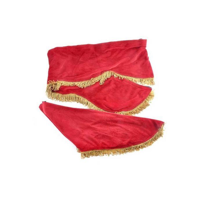Ламбрекен лобового стекла со шторками SKYWAY, 210см/60x60см, красный