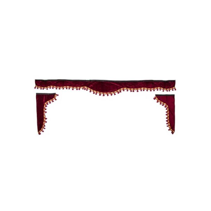 Ламбрекен лобового стекла со шторками SKYWAY, 220см/33x60, Бордо