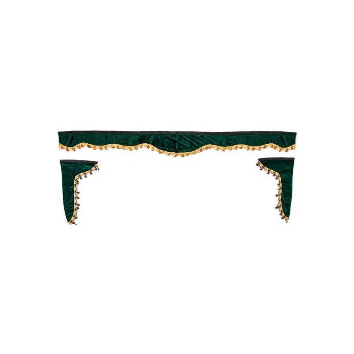 Ламбрекен лобового стекла со шторками SKYWAY, 220см/33x60, Зеленый
