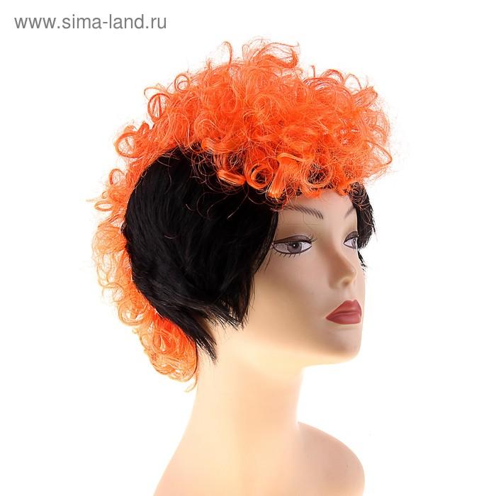 """Карнавальный парик """"Панк"""", верх-кудри красные, низ-черный"""