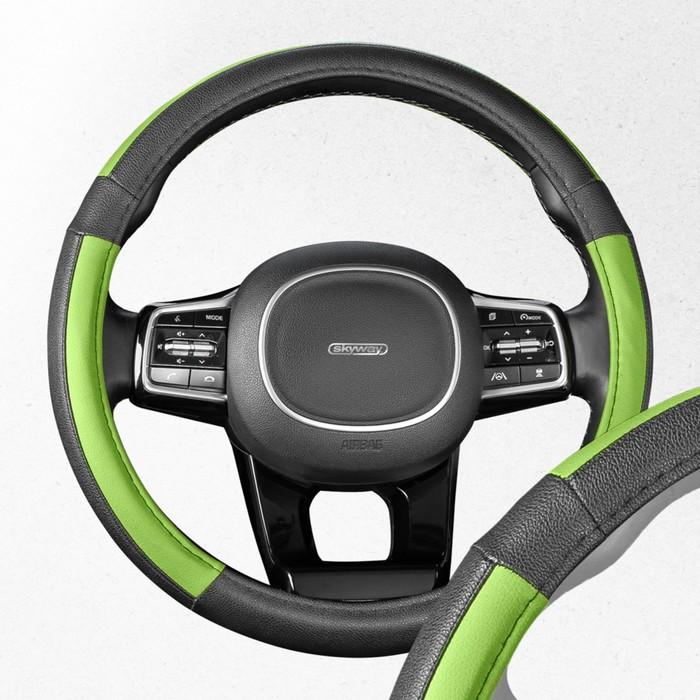 Оплетка SKYWAY, кожаная, размер M, черная, с зелеными вставками