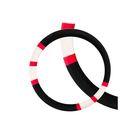 Оплетка SKYWAY, искусственный мех, размер L, черная, с красно-бежевыми вставками, ECO
