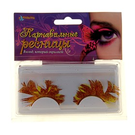 Carnival eyelashes feathers of different shapes glitter