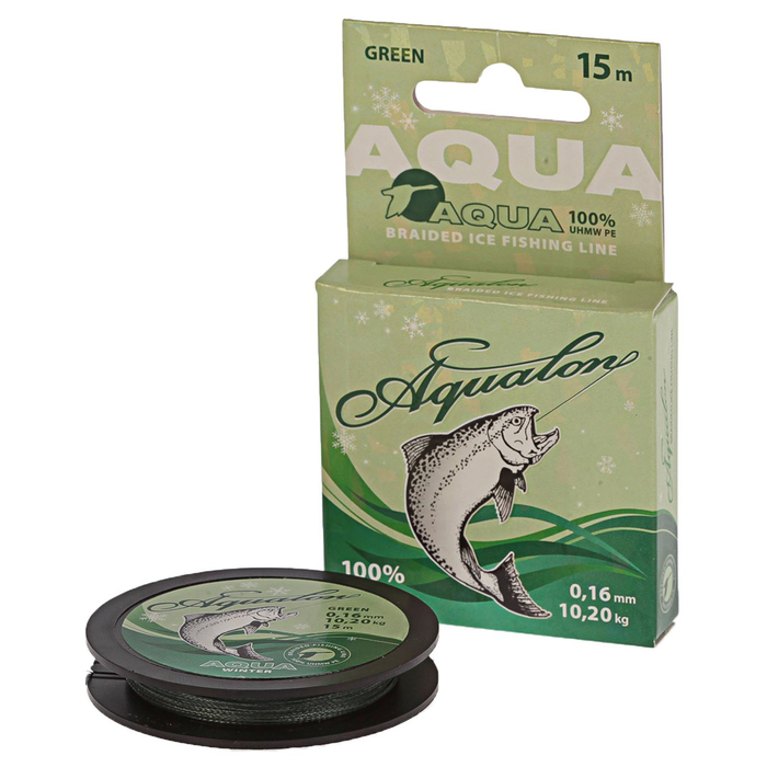 Леска плетёная Aqua Aqualon Dark-Green, 15 м, d=0,16 мм