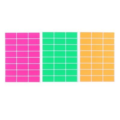 Набор 10 листов ценники самоклеящиеся 46*24мм 24шт флуоресцентные МИКС