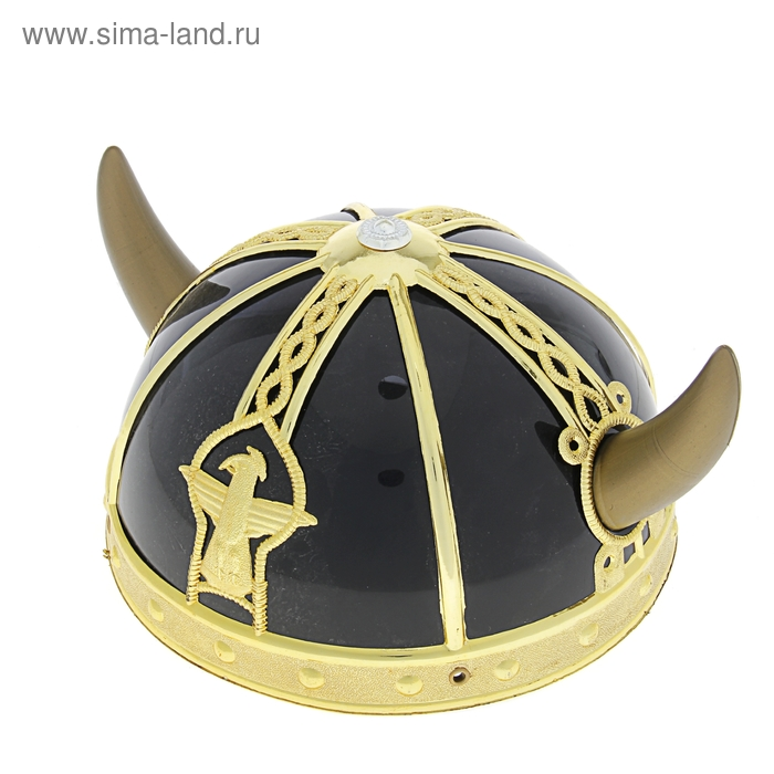 """Шлем """"Викинг"""" с рожками, цвет чёрный"""