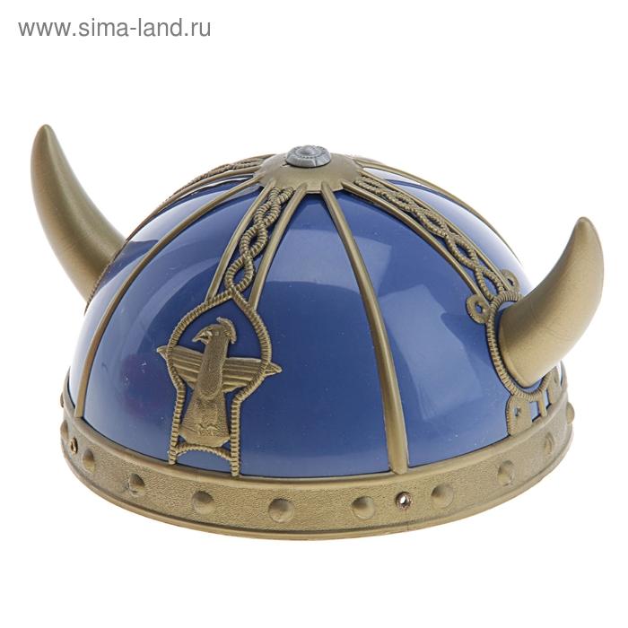 """Шлем """"Викинг"""" с рожками, цвет синий"""