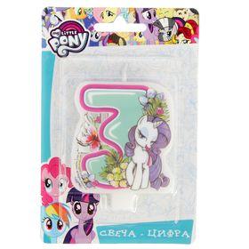 Свеча для торта цифра 'My Little Pony' голубая '3' Ош