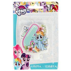 Свеча для торта цифра 'My Little Pony' голубая '6' Ош