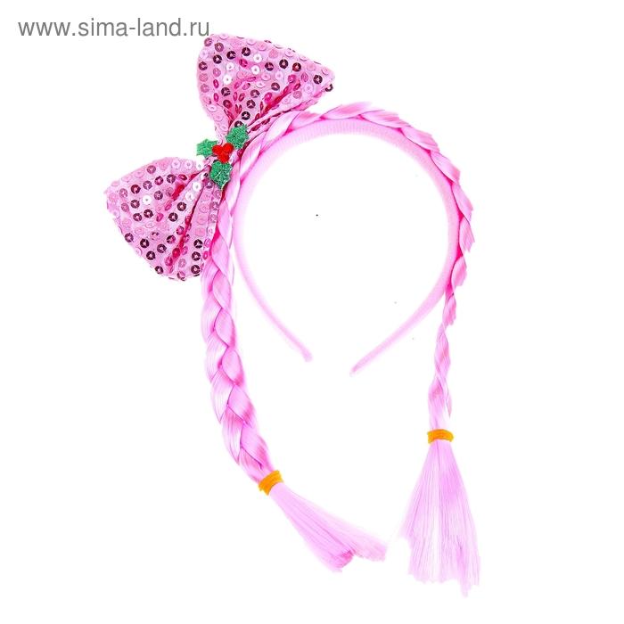 Ободок бант блеск с двумя косичками цвет розовый