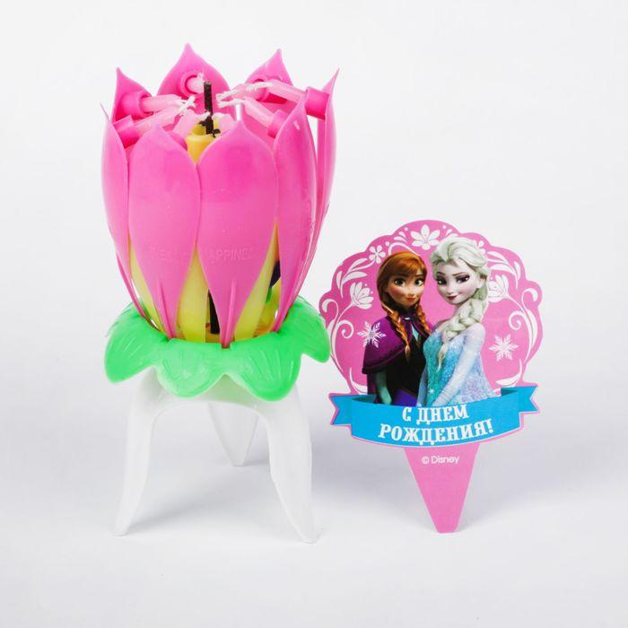 Свеча музыкальный цветок, Холодное сердце, 12.5 х 5.5 см