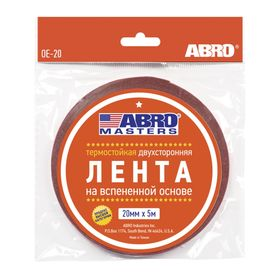 Лента клейкая ABRO двухсторонняя белая, 20 мм х 5 м OE-20-R Ош
