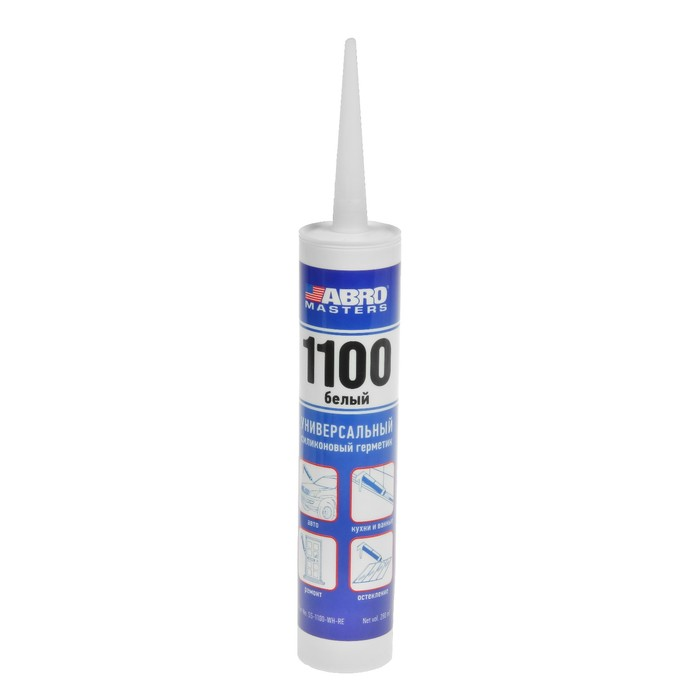 Герметик силиконовый 1100 ABRO MASTERS белый, 280 мл, SS-1100-WH