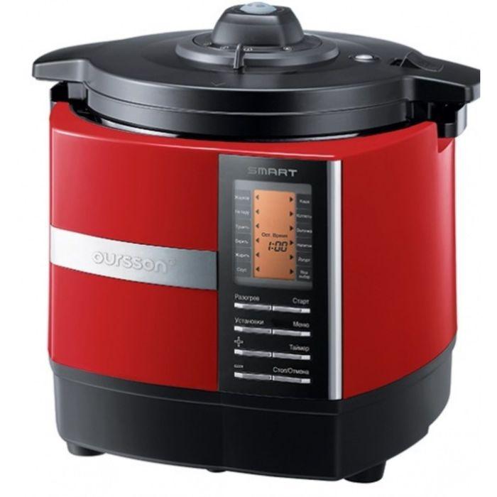 Мультиварка-скороварка Oursson MP5015PSD/RD, 1200 Вт, 5 л, 45 программ, мультиповар, красная