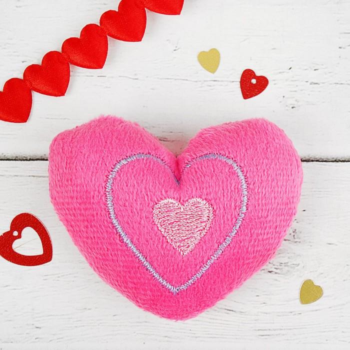 """Мягкая игрушка-магнит """"Сердечко"""", цвет розовый"""