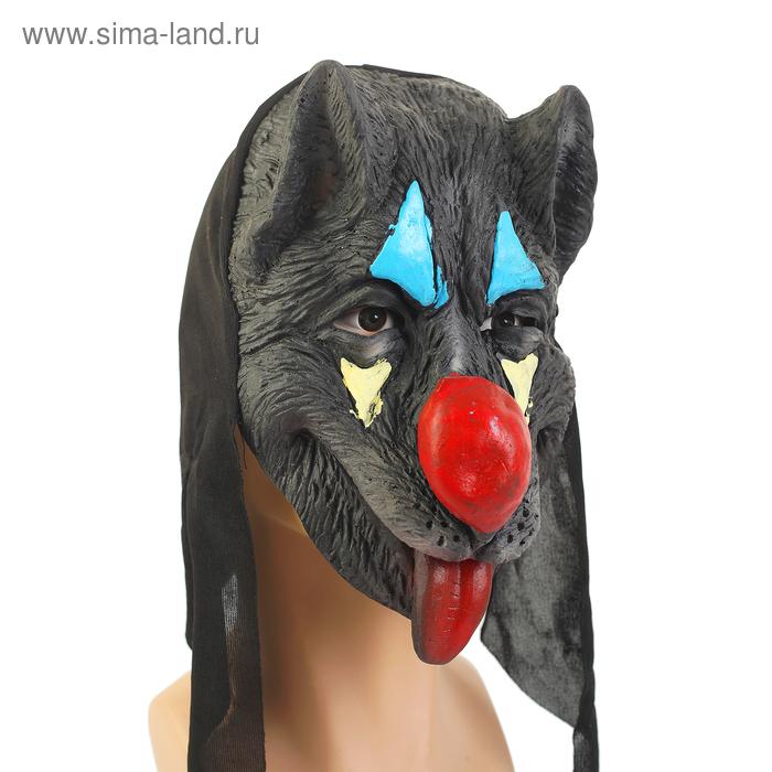 """Карнавальная маска """"Собака"""" красный нос"""