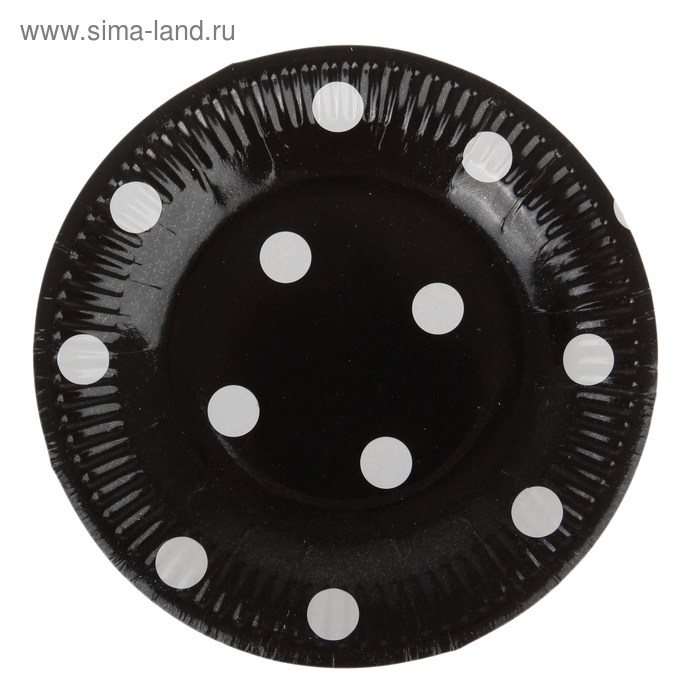 Набор бумажных тарелок, черный цвет в горох, (6 шт), 18 см