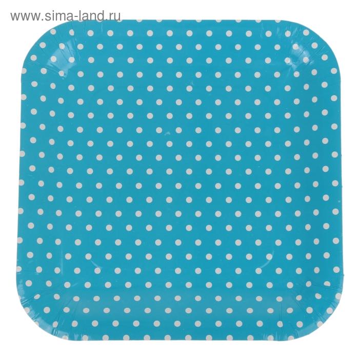 """Набор бумажных тарелок """"Горошек"""" голубой цвет, (6 шт), 23 см"""