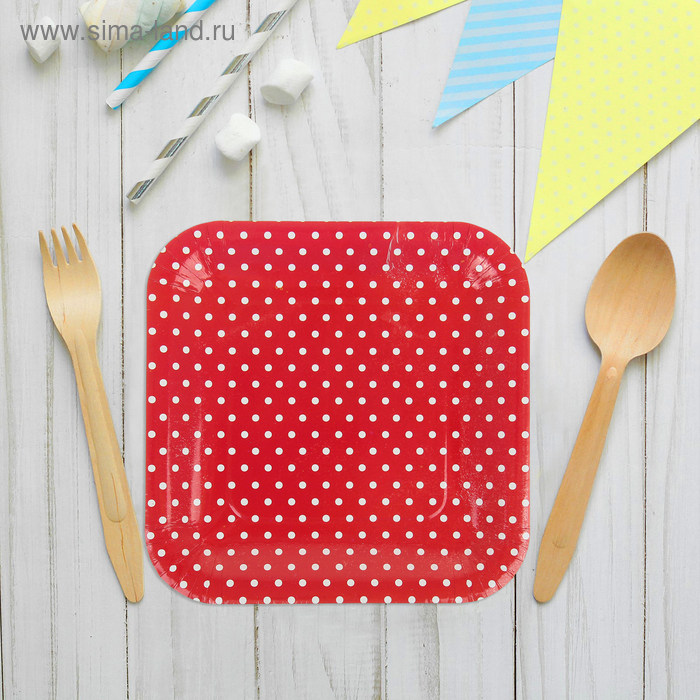 """Набор бумажных тарелок """"Горошек"""" темно-красный цвет, (6 шт), 23 см"""
