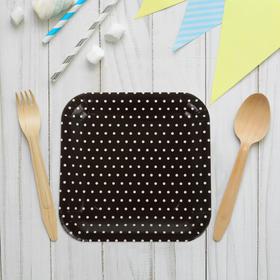 """Набор бумажных тарелок """"Горошек"""" черный цвет, (6 шт), 23 см"""