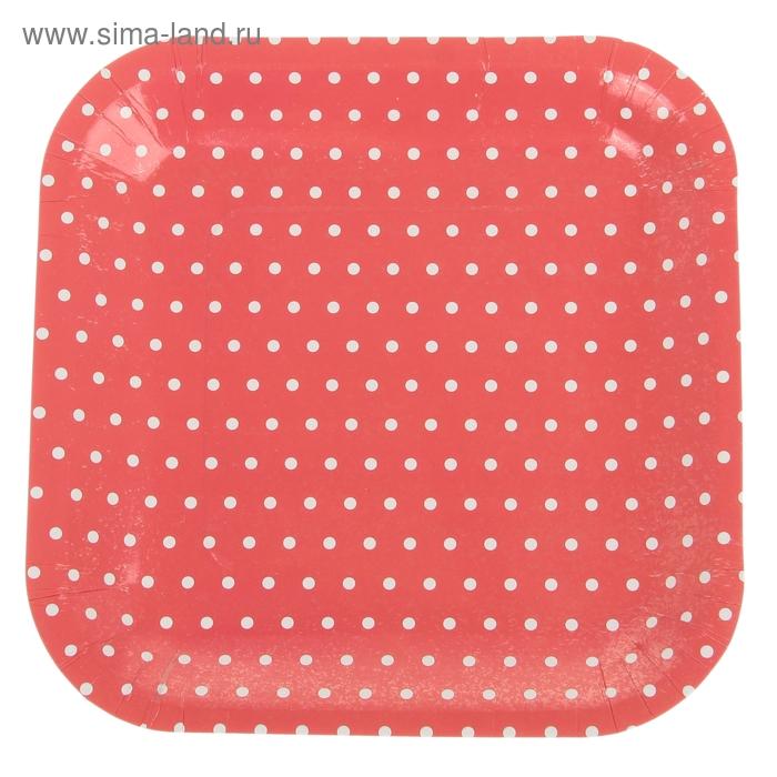 """Набор бумажных тарелок """"Горошек"""" красный цвет, (6 шт), 23 см"""