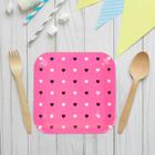 """Набор бумажных тарелок """"Цветные сердечки"""" малиновый цвет, (6 шт), 23 см"""