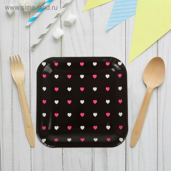 """Набор бумажных тарелок """"Цветные сердечки"""" черный цвет, (6 шт), 23 см"""